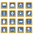 netherlands icons set blue vector image