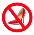 no high heels prohibition sign red shoe vector image