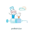 pediatrician is flying on a syringe with a sick vector image vector image