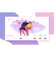 people in love landing page valentines day banner vector image vector image