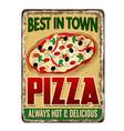 pizza vintage rusty metal sign vector image vector image