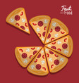 poster fast food in purple background with pizza vector image vector image