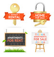 realistic detailed real estate signs set vector image vector image