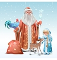 Russian Father Frost Snow Maiden blue rooster vector image vector image