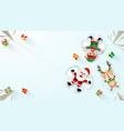 santa claus laying on snow making a snow angel vector image vector image