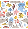 seamless pattern with cute funny marine animals or vector image vector image