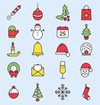 Set flat outlined Christmas icons vector image vector image