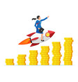 successful businesswoman flying on rocket on graph vector image