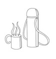 travelling thermos with a cup vector image vector image