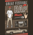 vintage colored rap music festival poster vector image vector image