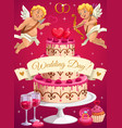 wedding day cake and cupids love hearts vector image