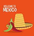 welcome to mexico poster tourism design vector image