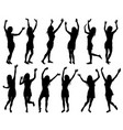 with happy women silhouettes isolated vector image