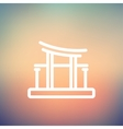 Famous gate thin line icon vector image
