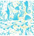 ink hand drawn sealife seamless pattern vector image