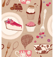 Card with cups and sweets vector image