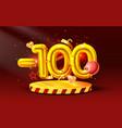 100 off discount creative composition 3d golden vector image