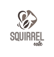 Abstract icon of squirrel and coffee vector image