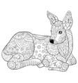 adult coloring bookpage a cute little deer with vector image vector image