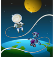 An astronaut and a robot vector image vector image
