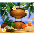 beautiful beach view with wooden board vector image vector image