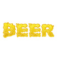Beer text logo typography Liquid yellow letters vector image vector image