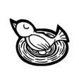 bird on eggs vector image