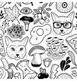 black and white endless wallpaper with hipster vector image vector image