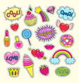 bright girlish stickers in pink and red colors set vector image vector image