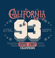 california typography print sport print t-shirt vector image vector image