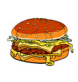 cartoon image of tasty burger vector image vector image