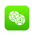 casino chip icon green vector image vector image