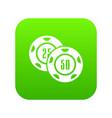 casino chip icon green vector image