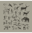 Cave man and animals rock painting vector image