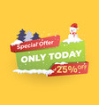 christmas sale snoman yellow vector image