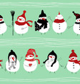 christmas seamless pattern of snowmans vector image