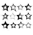 collection of hand drawn stars vector image