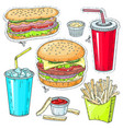 comic style colorful icons set fast food vector image vector image