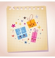 cute gift characters note paper cartoon vector image vector image