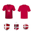 denmark soccer jersey kit with team line up board vector image vector image