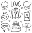 doodle of object wedding various vector image vector image