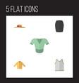 flat icon garment set of stylish apparel banyan vector image vector image