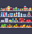 food products on shop shelf supermarket shopping vector image vector image