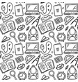 funny seamless pattern with school supplies vector image