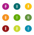 gluten content icons set flat style vector image vector image