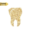 Gold glitter icon of tooth isolated on vector image