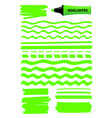 green highlighter pen hand drawn lines and squares vector image