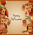 happy halloween card pumpkins vector image vector image