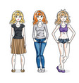 happy young women group standing wearing vector image vector image