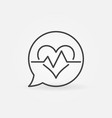 heartbeat in speech bubble outline outline vector image vector image